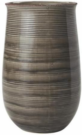 Blumenvase Keramik Streifen Grau, groß