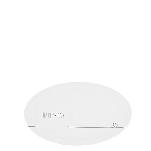 Bastion Collections Teller / Espresso Plate White, Happy Day in Black