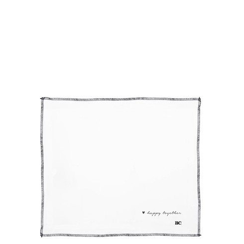 Bastion Collections Stoffserviette White Linen Happy Together in Black