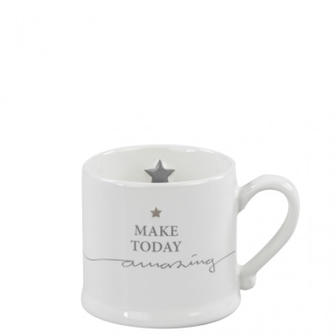 Bastion Collections Mug Small White/make today amazing in Grey
