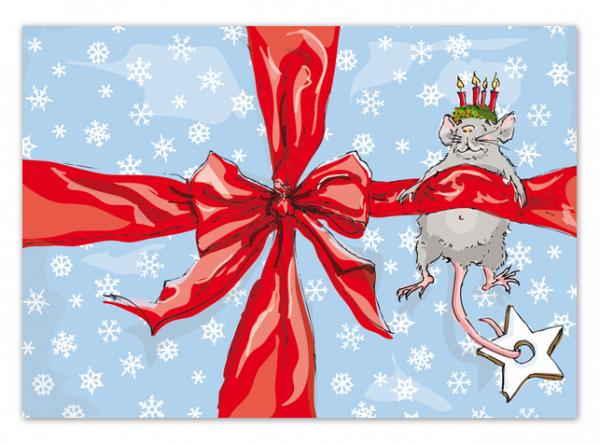 Krima & Isa Postkarte Weihnachtsmaus