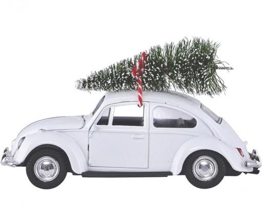 house doctor XMas Car / VW Käfer (weiß) mit Tannenbaum