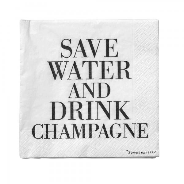 Bloomingville Papierservietten Save Water, drink Champagne