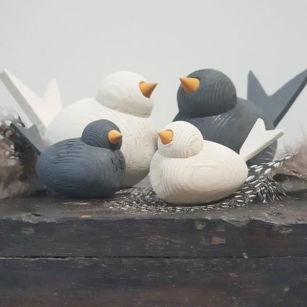Holzvogel Klein, grau