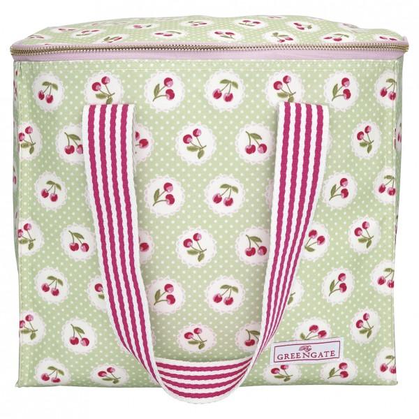 GreenGate Kühltasche / Cooler Bag, Cherry Berry Pale Green mit 2 Trageriemen