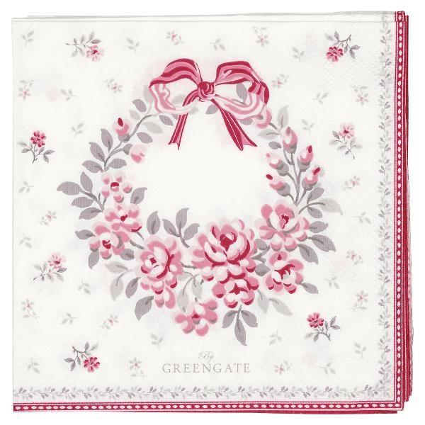 GreenGate Kleine Papierserviette Flora White, limited edition