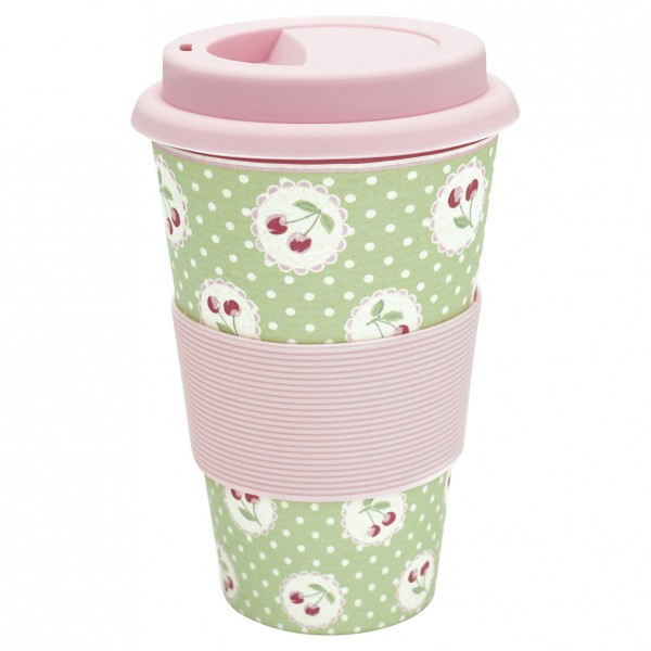 GreenGate Bambus Travel Mug Cherry Berry Pale Green