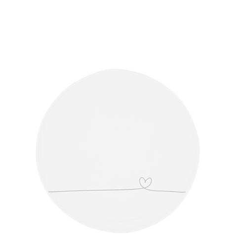 Bastion Collections Teller / Cake Plate White line heart Grey