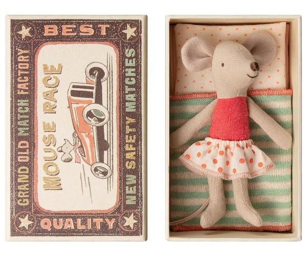 Maileg Maus Little Sister Mouse in a Box, mit Tupfenröckchen