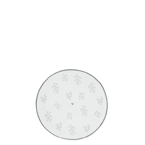 Bastion Collections Kleines Tellerchen/Teebeutelablage/Tea Tip White / Petal in Grey (Herzblüten)