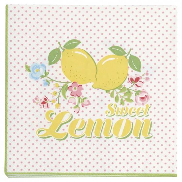 GreenGate Kleine Papierserviette Limona white