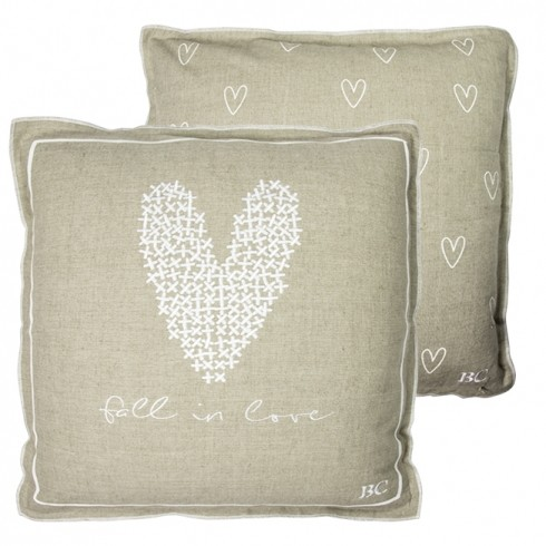 Bastion Collections Kissen Natural/Heart and Fall in Love White