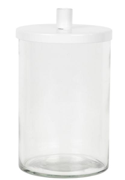 Ib Laursen, Kerzenhalter mit Glas/Deckel f. Tannenbaumkerze, weiß