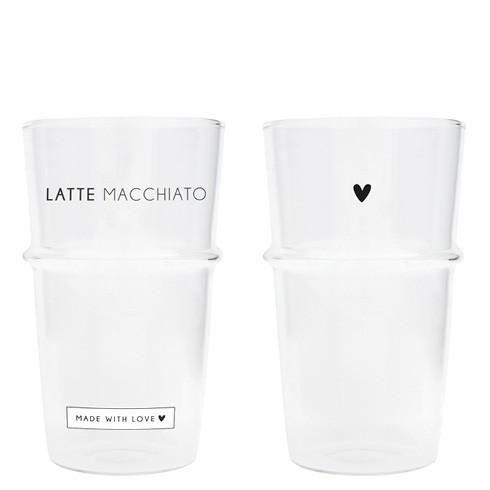Bastion Collections Tumbler / Latte Gläser 2er Set, Herz und Schriftzug Latte Macchiato SS2021