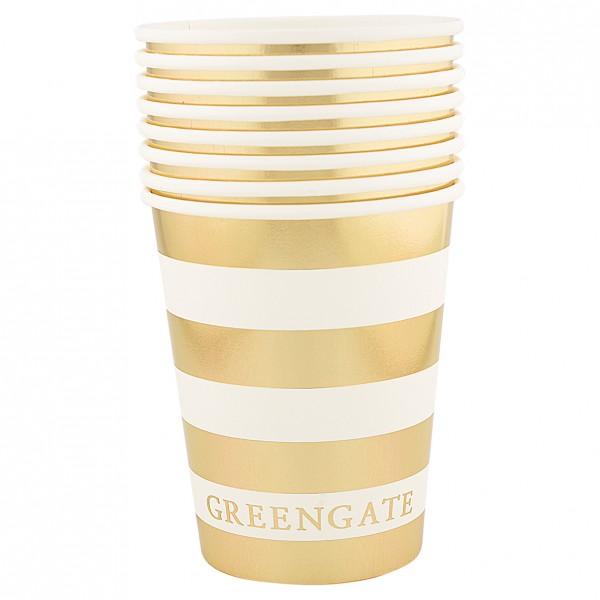 Greengate Pappbecher / Paper Mug, Stripe Gold, 8 St.