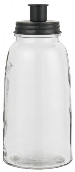 Ib Laursen Kerzenhalter mit Metalldeckel (schwarz) groß, für Stabkerzen
