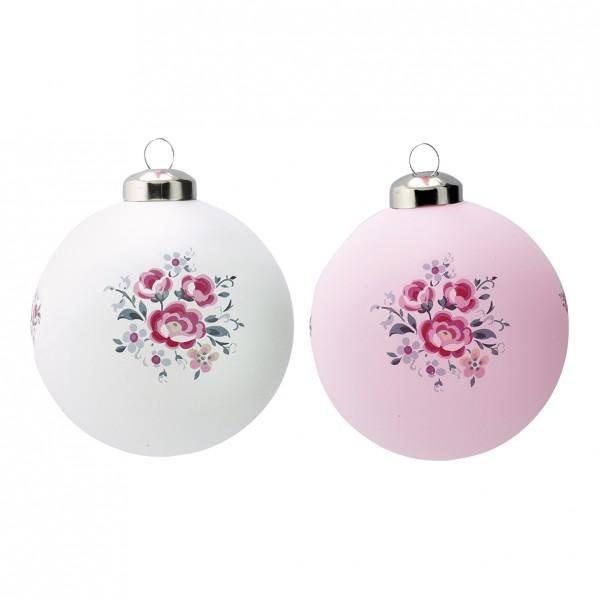 Greengate XMas Ball Glass Nicoline white & pale pink, im 2er Set