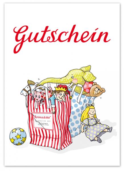 Krima & Isa Postkarte Spielzeug Gutschein