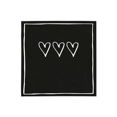 Bastion Collections Kleine Papierservietten Black 3 hearts