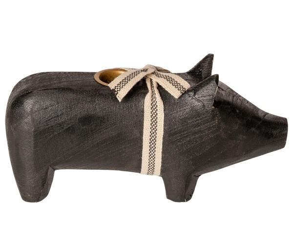 """Maileg, Schweinchen """"Wooden pig, Black, Medium"""" für Kerze"""