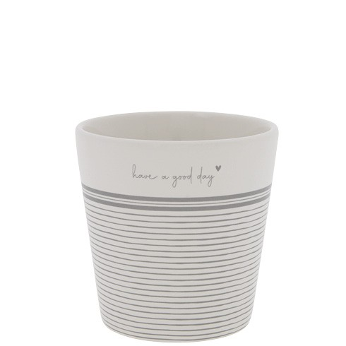 Bastion Collections Becher / Mug Stripes Have a good Day, Grey, SS221