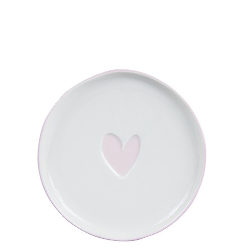 Bastion Collections Teller / Cake Plate 16cm White/Heart in Rose