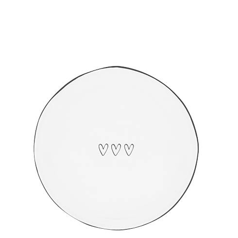 Bastion Collections Teller / Cake Plate White / 3 little hearts Black