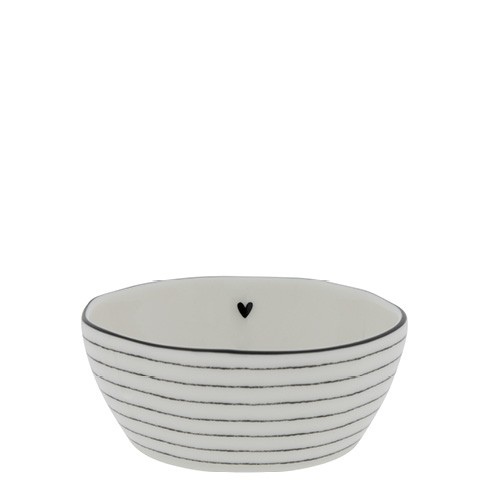 Bastion Collections Schale/Bowl Sauce with Heart and Stripes in Black