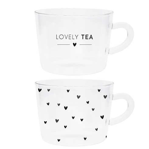 Bastion Collections Tumbler / Teetasse Schriftzug Lovely Tea/ Miniherzen