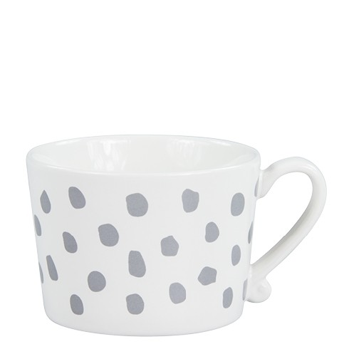 Bastion Collections Mug White/Big Dots in Grey