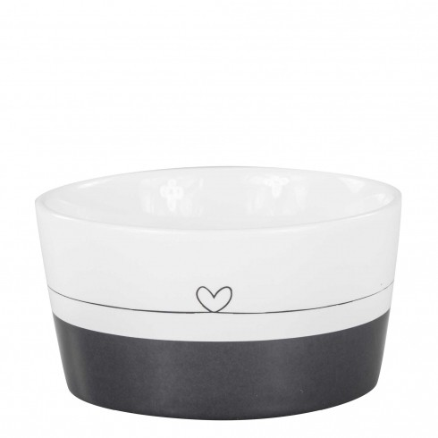 Bastion Collections Schale / Bowl Black/White with line heart in black