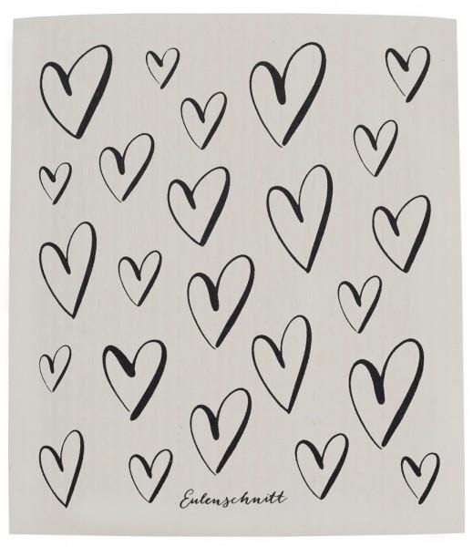Eulenschnitt Schwammtuch Herzen, 3er Set