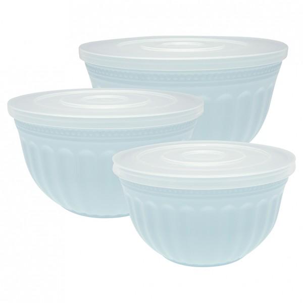 Greengate Salatschüsseln mit Deckel im 3er Set Alice Pale Blue