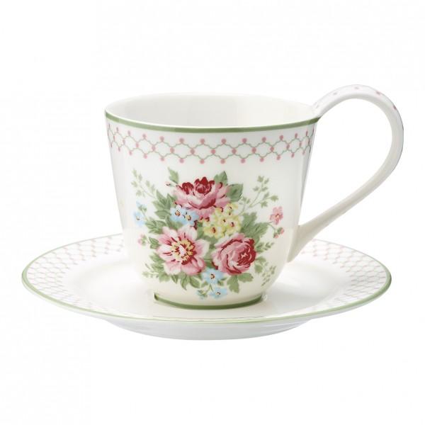 GreenGate Henkel-Tasse mit Unterteller Aurelia White
