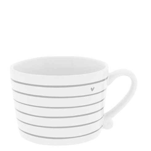 Bastion Collections Cup White / Stripes & Heart in Grey