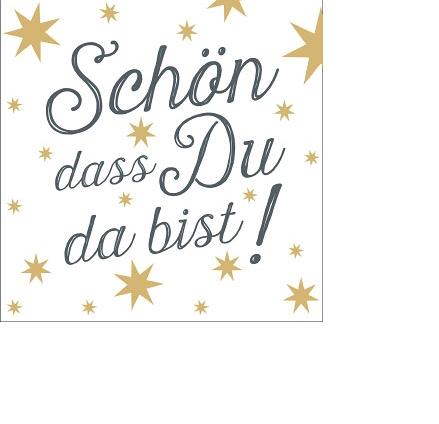 """Artebene Kleine Papierservietten """"Schön dass du da bist"""", anthrazit/gold"""
