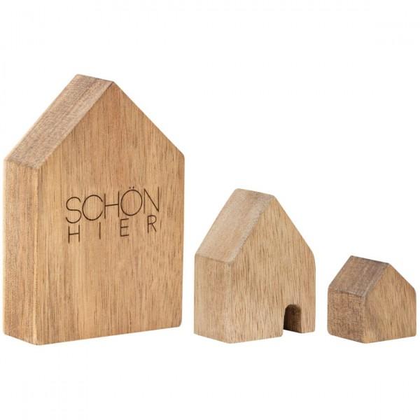 räder Holzhäuschen Schön hier, 3er Set