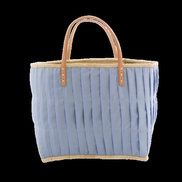 Rice Korb/Einkaufstasche, Vichy-Karo Blau mit Ledergriffen, large