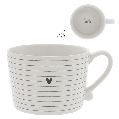 Bastion Collections Cup White / Stripes and Heart in Black