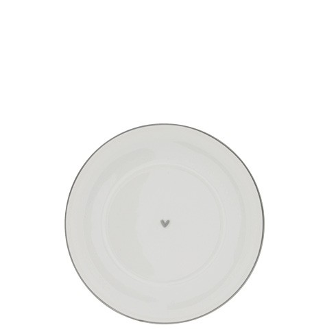 Bastion Collections Teller / Plate Cup White Heart with Grey Edge