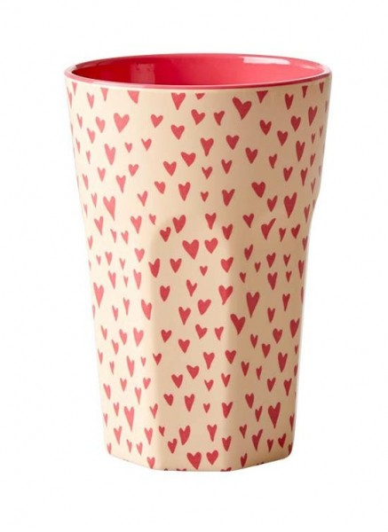 Rice Melamin Latte Becher, Small Hearts Print