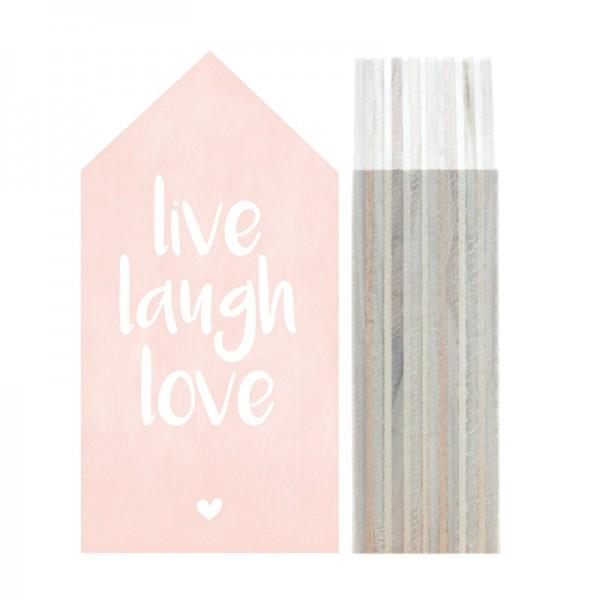 """Dots Lifestyle, Holzhäuschen """"Live Laugh Love"""" -pink-"""