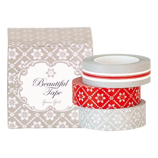 GreenGate Masking Tape / Tape Box Alba Warm Grey, 3er Set