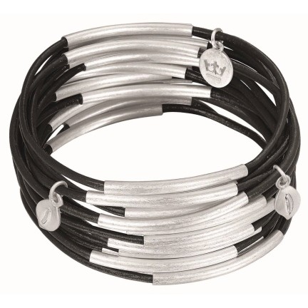 Sence Copenhagen Armband Urban Gipsy, matt black worn silver, 3teilig