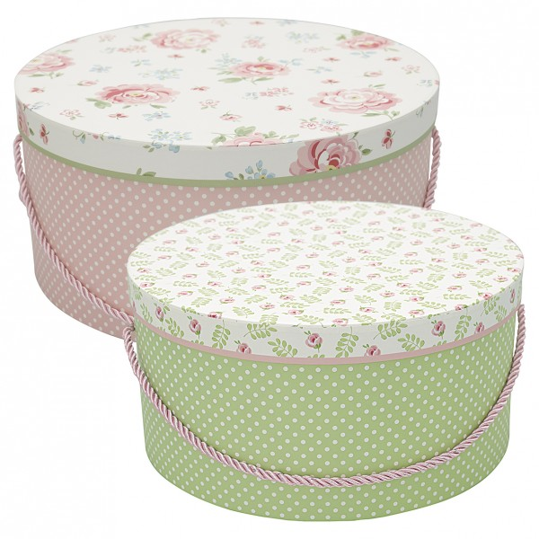 GreenGate Round Box Meryl Mega White, 2er Set