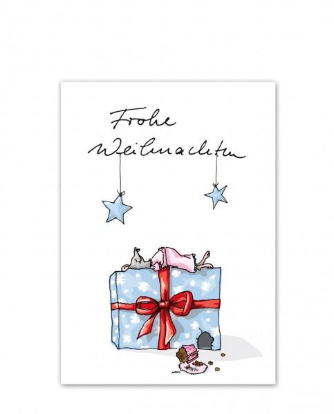 Krima & Isa Postkarte Frohe Weihnachten / Satte Maus