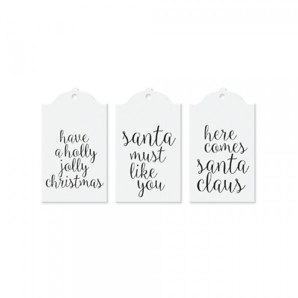 Tafelgut Geschenk-Anhänger Christmas White, 3fach sortiert