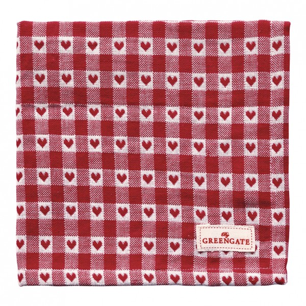 GreenGate Stoffserviette Heart Petit Red