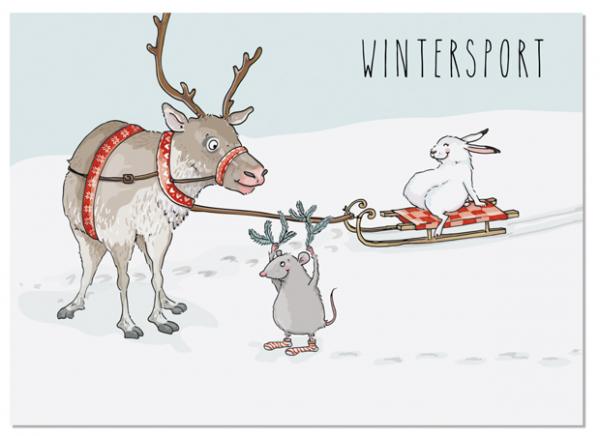 Krima & Isa Postkarte Wintersport