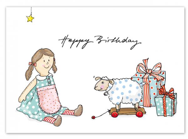 Krima & Isa Postkarte Spielzeug Birthday
